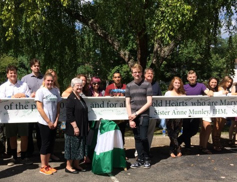 Marywood community signs final Learning Commons beam