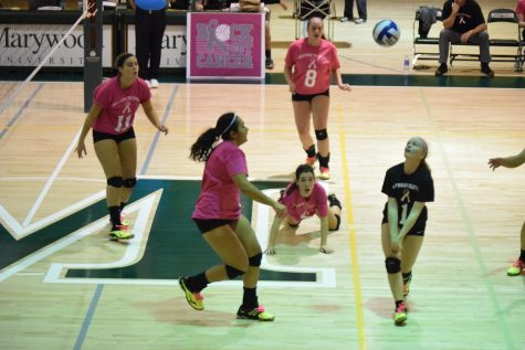 Volleyball team plays in pink for breast cancer awareness