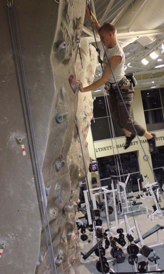 Rock climbers step up to the wall