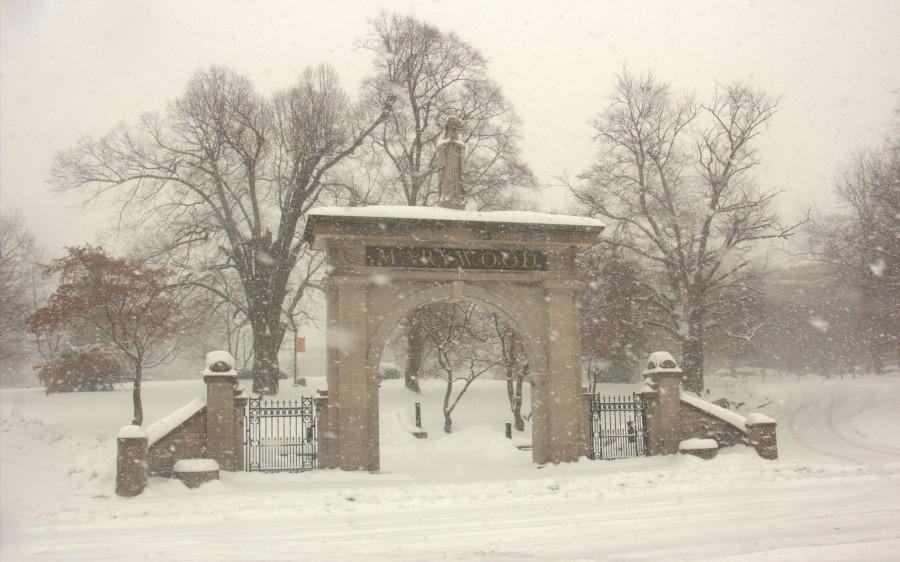 Snow blankets Marywood campus