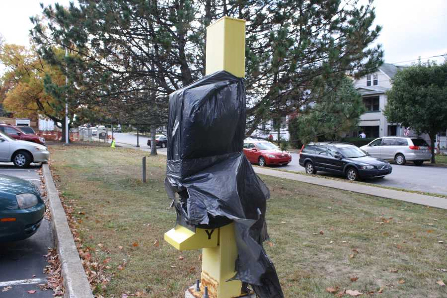 A+campus+safety+call+box+wrapped+in+plastic+is+unusable+in+the+Nazareth+Hall+parking+lot.