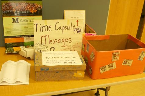A drop box for essays for the Time Capsule sits near the cafeteria in Nazareth Hall