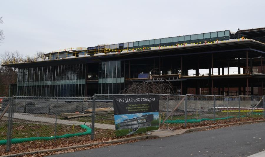 Progress of the Learning Commons building scheduled to be finished in the Fall of 2015