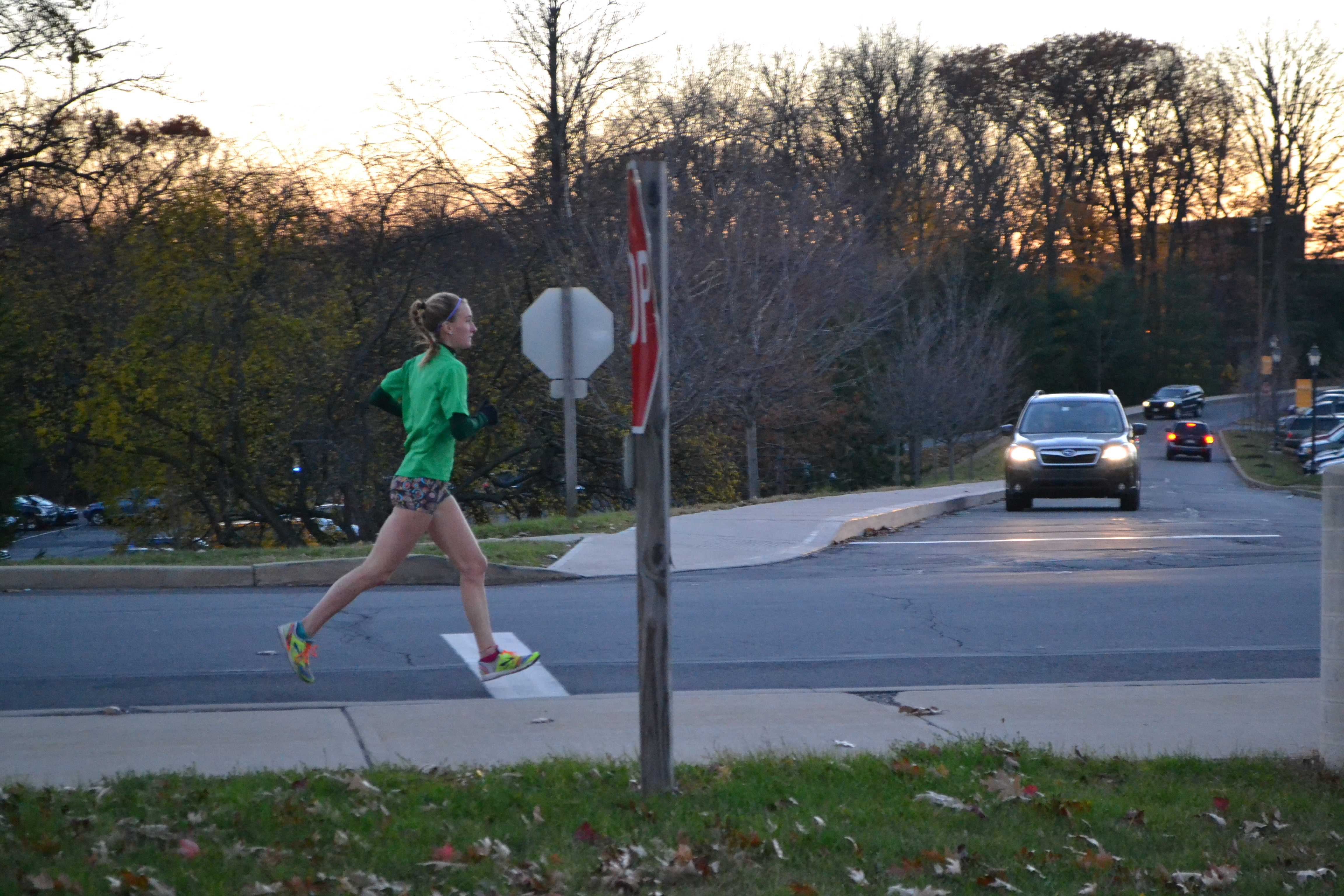 Emma Doughman, a junior, exercise sceience major, trains all year round for upcoming  events by running around campus.