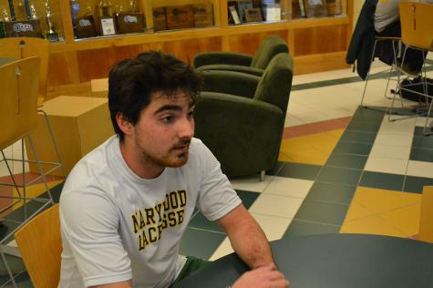 Scott Slater, a junior, accounting major, is taking a break during conditioning lacrosse practice during the off season. During the practice the members of the team are running spirits and laps around the gym.