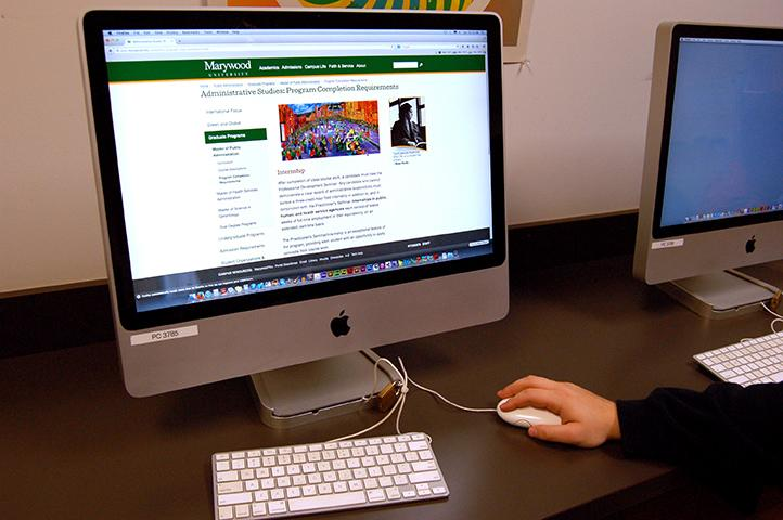 Student looks over the Public Administration on Marywood's website.