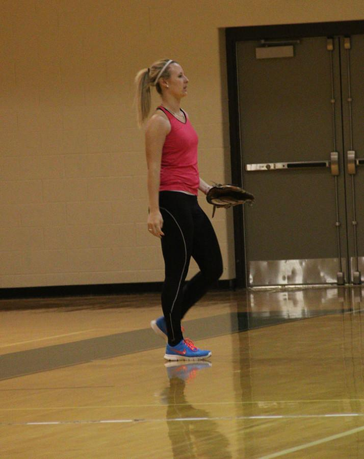 Due to the weather, Women's softball practiced in the gym.