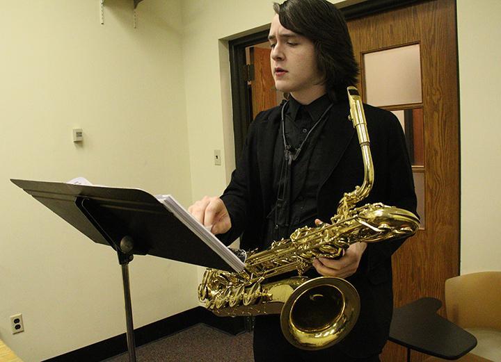 Byran Cowan from Wallenpaupak High School practices for the George Gershwin Festival.