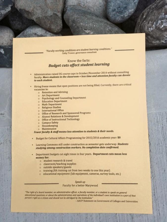 This flyer was found outside of the Learning Commons, displaying information about budget cuts on campus.