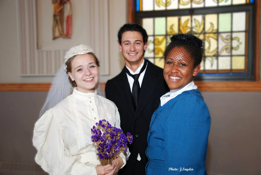 A photo from the Production Manager left to right: Emily (the bride) - Dana Jackson George (the groom) - Ken Doyle Mrs. Soames (church lady) - Jade Litaker