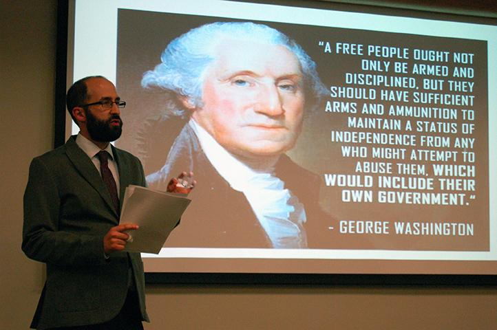 Dr. Adam Shprintzen gives his Constitution Day lecture in the Swartz Center for Spiritual Life.