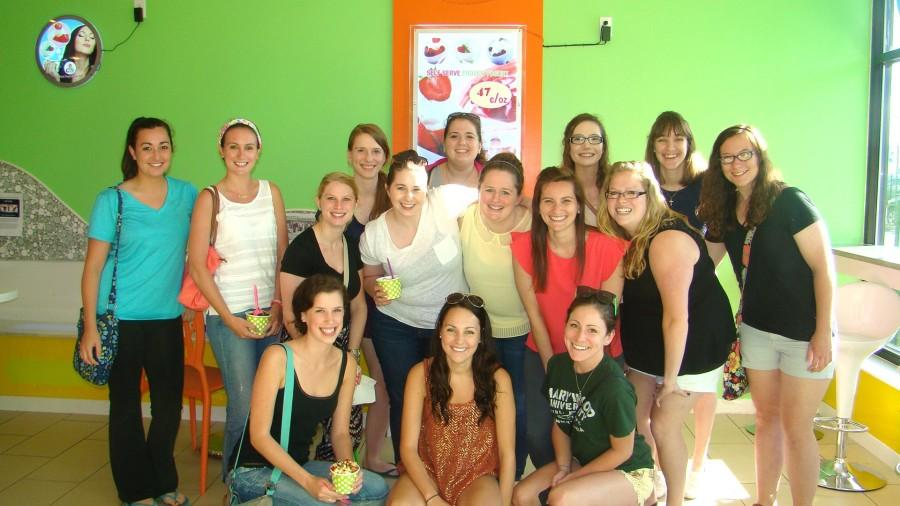 The Aphasia Support Group poses at their fundraiser at Yogurt City in Dickson City.