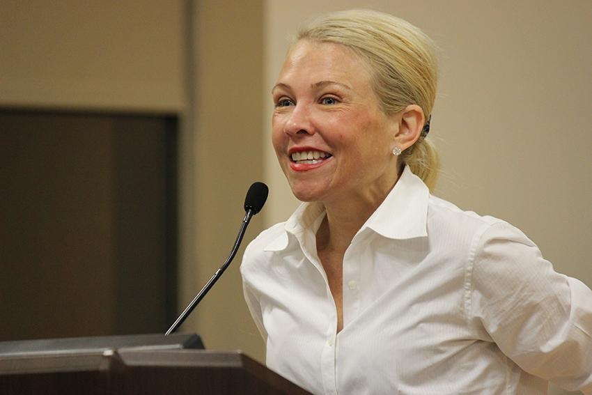 Katie Koestner speaks in the Latour Room on Oct. 29.