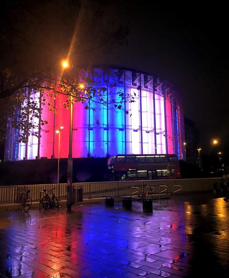 The+BFI+IMAX+theater+in+London+was+lit+up+in+Paris+colors+to+show+their+support+after+the+attacks+on+Nov.+13.+