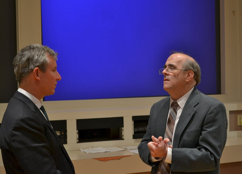 Congressman Cartwright (left) speaks with Professor Dr. Ertl.