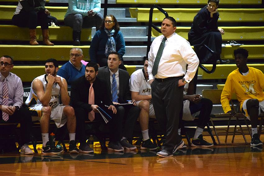 +Coach+Enrico+Mastroianni+watches+his+team+during+their+game+against+Keystone+College+on+Jan.+27.