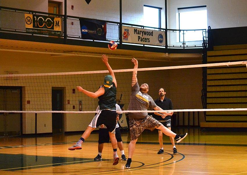 Faculty and students played in SGA's volleyball game on April 6 in the Center for Athletics and Wellness.