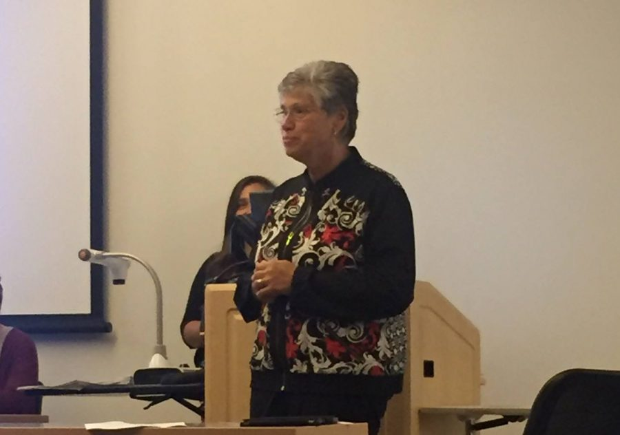 Sr.+Mary+spoke+at+the+SGA+meeting.
