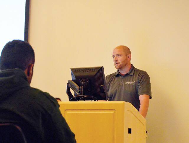 Chartwells Senior Director of Dining Services Jon Barzensky answered questions at last Tuesdays Student Government Association (SGA).