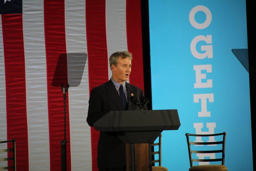 Congressman+Matt+Cartwright+spoke+to+the+crowd+ahead+of+Biden.