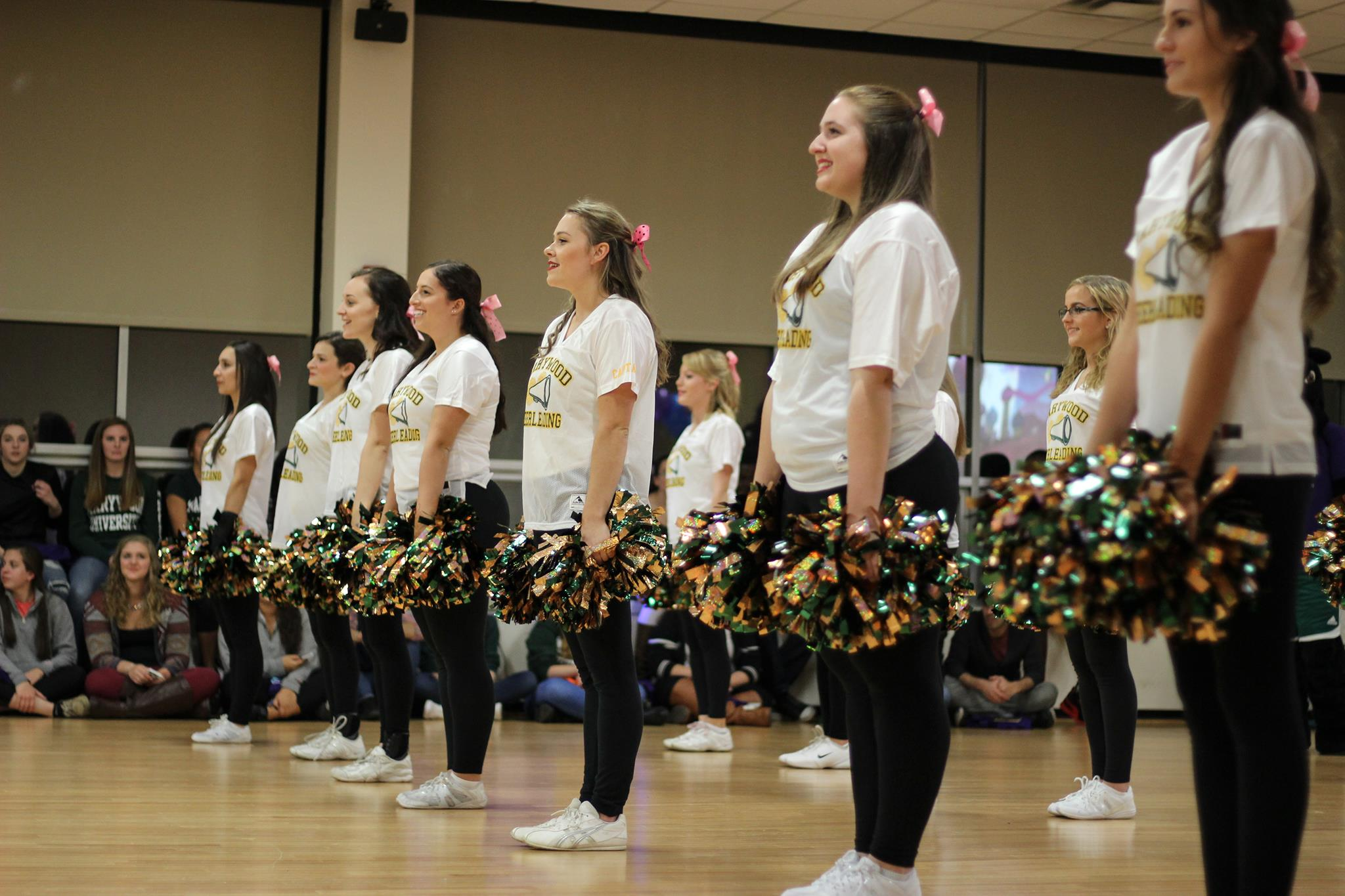 Members of the Marywood Cheerleading team perform for the crowd at Marywood Madness.