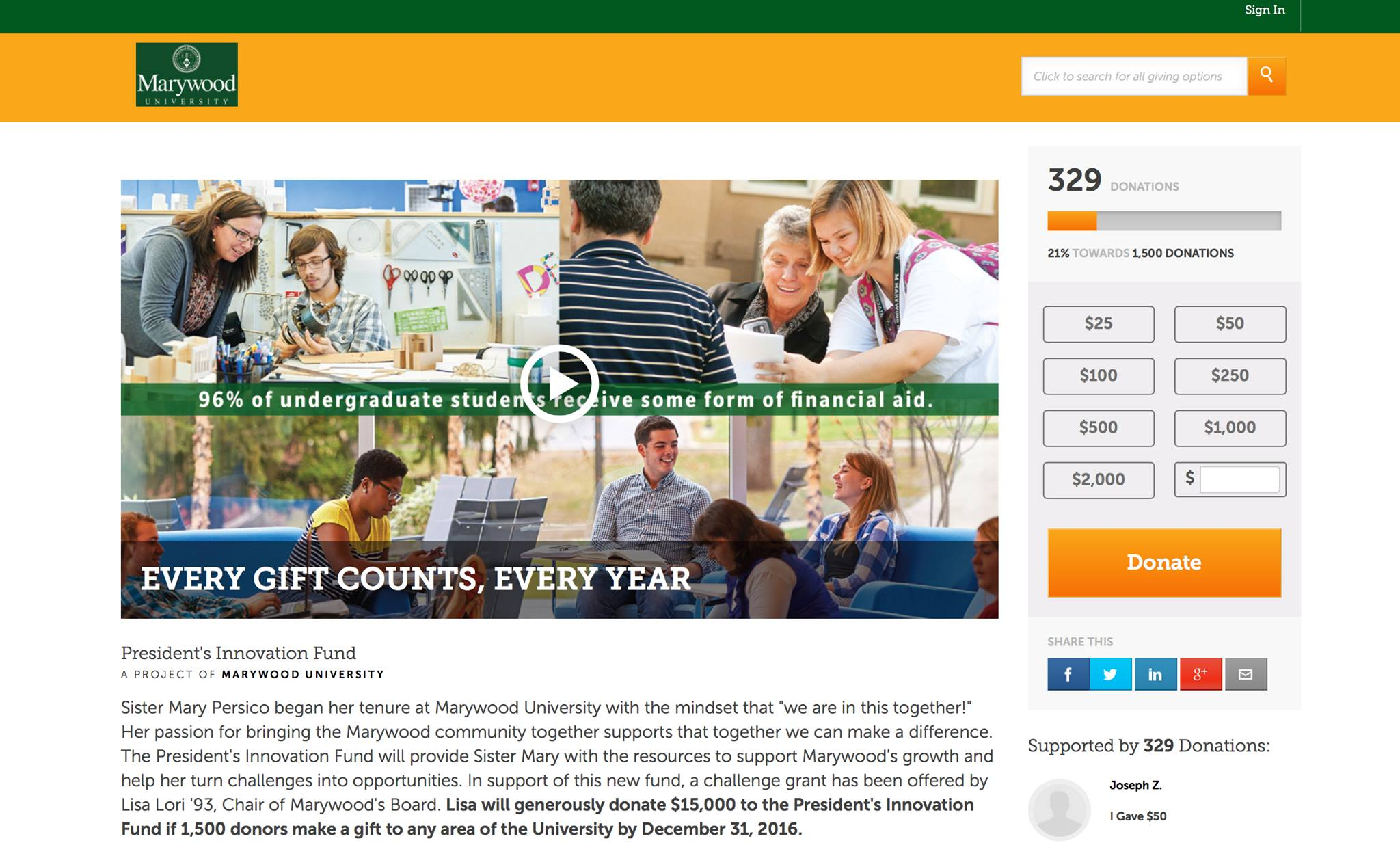 A screenshot of Marywood's online donation page, which reached 329 donors as of Oct. 24.