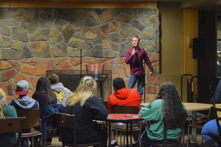 Students filled rows of seats in the Fireplace Lounge for this Student Activities Crew (SAC) event on Friday, Nov. 4.