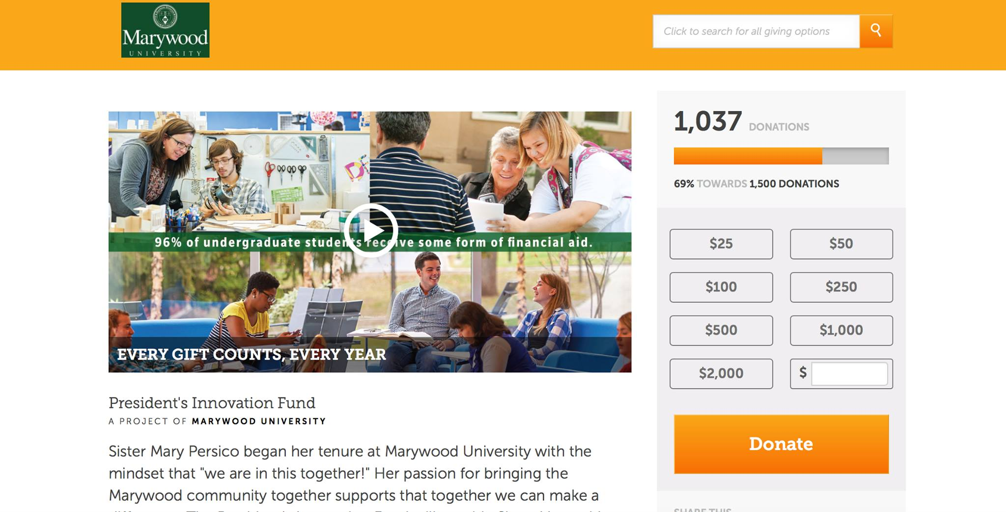 A screenshot of the online donation page which has 1,037 donors out of the 1,500 needed as of Nov. 27.