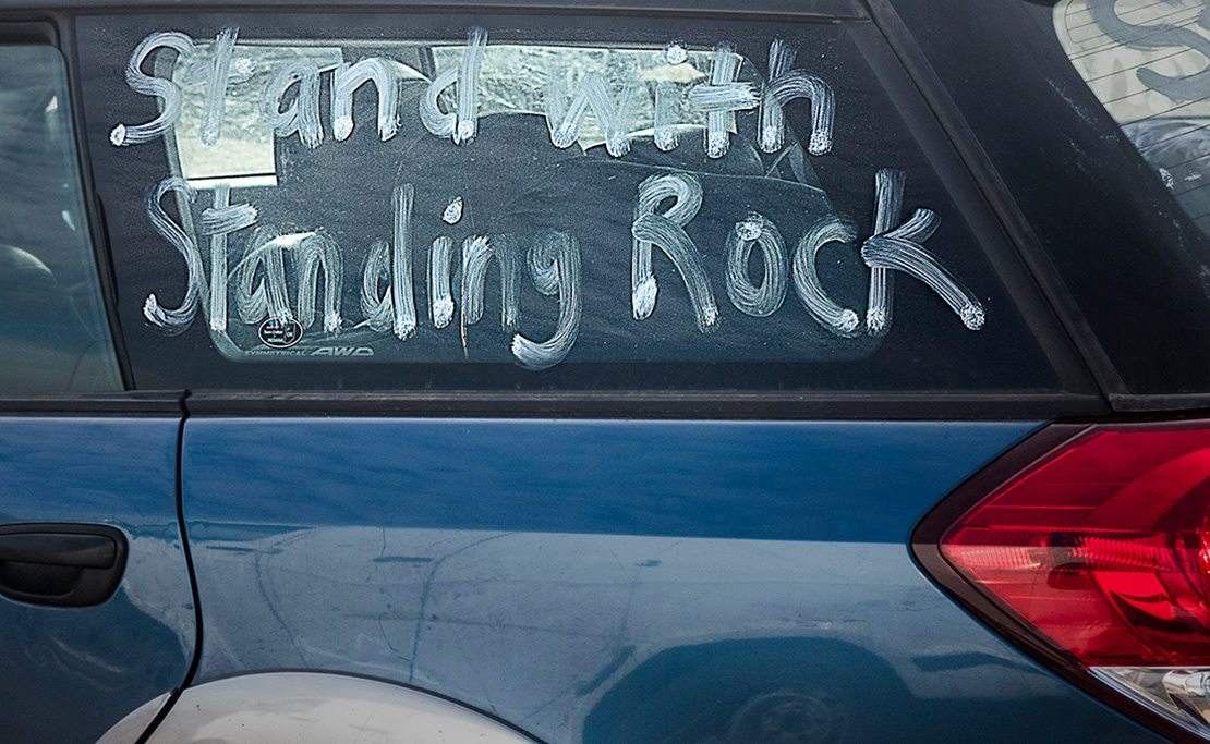 A car window was painted with the popular support phrase