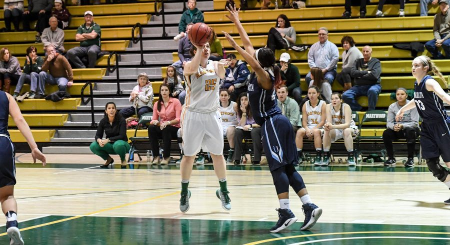 Photo+courtesy+of+Marywood+Athletics.+Sophomore+guard+Alyssa+Olson+squares+up+for+a+jump+shot+against+Immaculata+University.