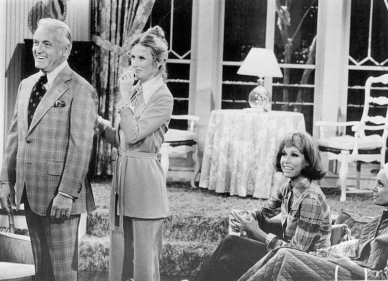 Photo+is+in+public+domain.+Publicity+photo+of+Ted+Knight%2C+Cloris+Leachman%2C+Mary+Tyler+Moore+and+Valerie+Harper+from+The+Mary+Tyler+Moore+Show.+In+this+episode%2C+Phyllis+talks+Ted+into+running+for+local+public+office+via+Wikimedia+Commons