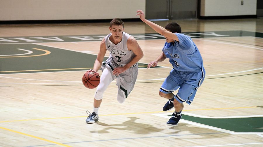 Photo+courtesy+of+Marywood+Athletics.+Description%3A+Sophomore+guard+Tip+Swartz+scores+19+points+in+21-point+victory+over+Clarks+Summit+University.