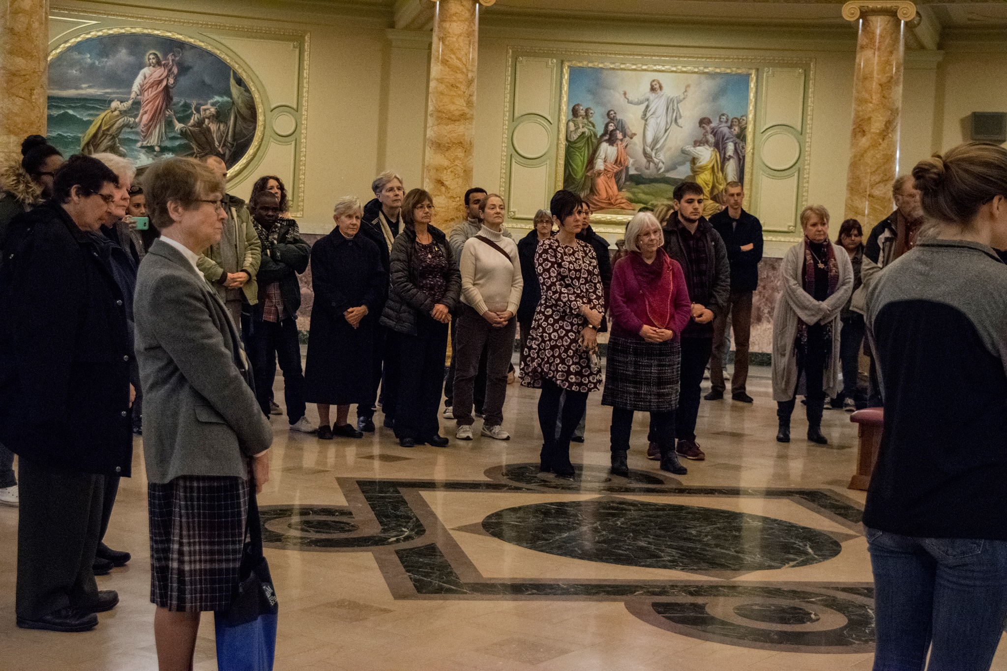 Members of the Marywood Community gathered in the Rotunda for a prayer service and reflection circle.