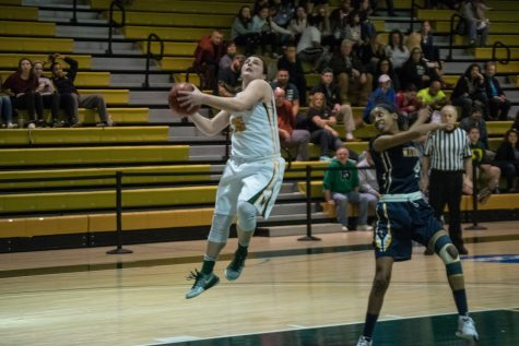 Marywood Sophomore captain Gab Giordano goes up for a shot.