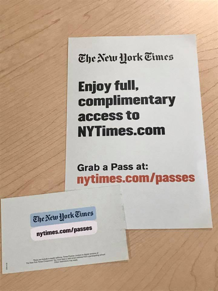 Education Manager at The New York Times Laura Reino handed out flyers during her presentation where she showed faculty and staff how to incorporate The New York Times content into an academic setting.