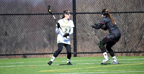 Junior attacker Erin Healy looks to make a play against Arcadia University. Photo courtesy of Marywood Athletics.
