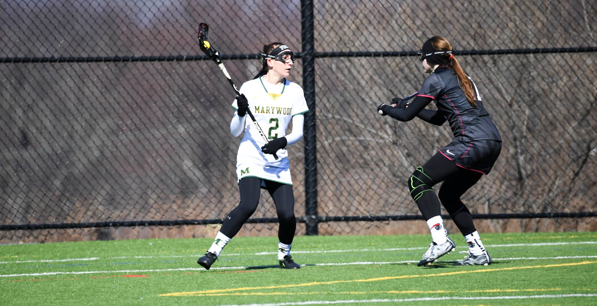 Junior attacker Erin Healy looks to make a play against Arcadia University. Photo courtesy of Marywood Athletics.