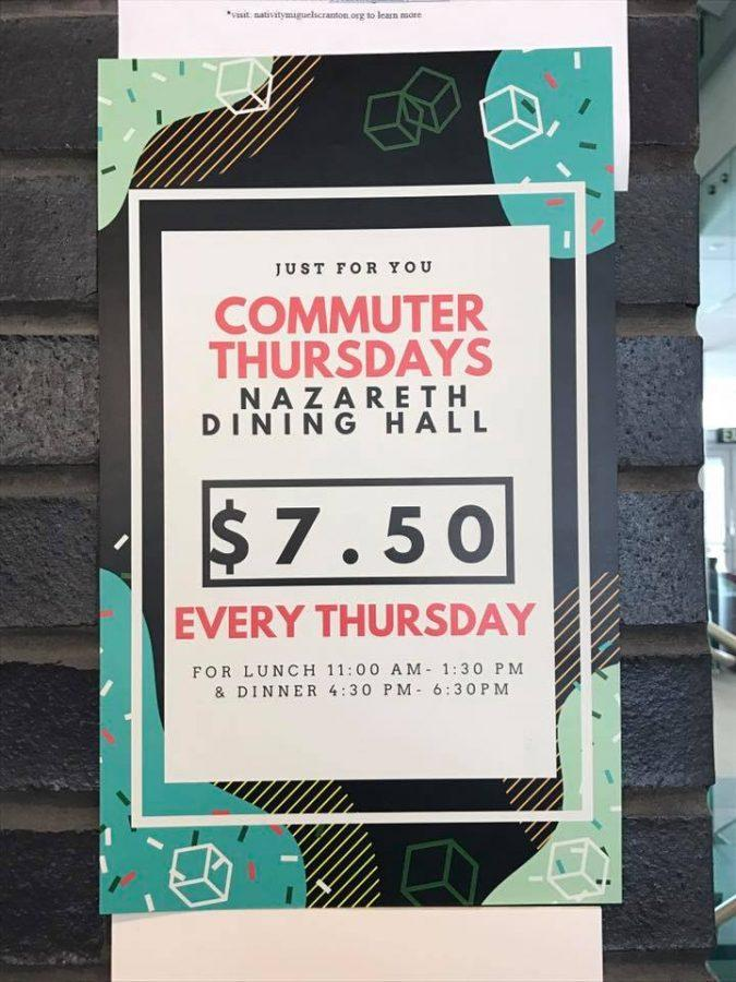 A+poster+advertises+Commuter+Thursdays+at+Nazareth+Dining+Hall.