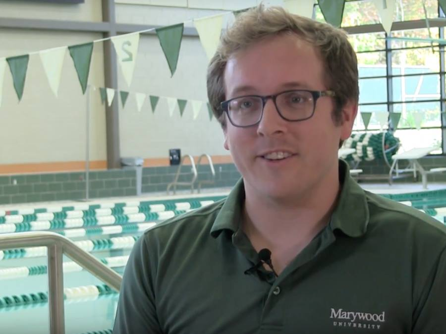 Swimming and diving head coach Noah Beck coached his teams to a fifth place finish at the Landmark Championships.