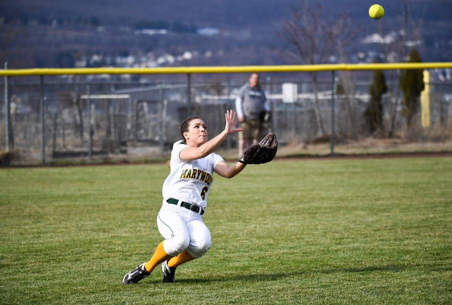 Junior outfielder Mackie Goodwin looks to make a tough catch in left field. Photo courtesy of Marywood Athletics