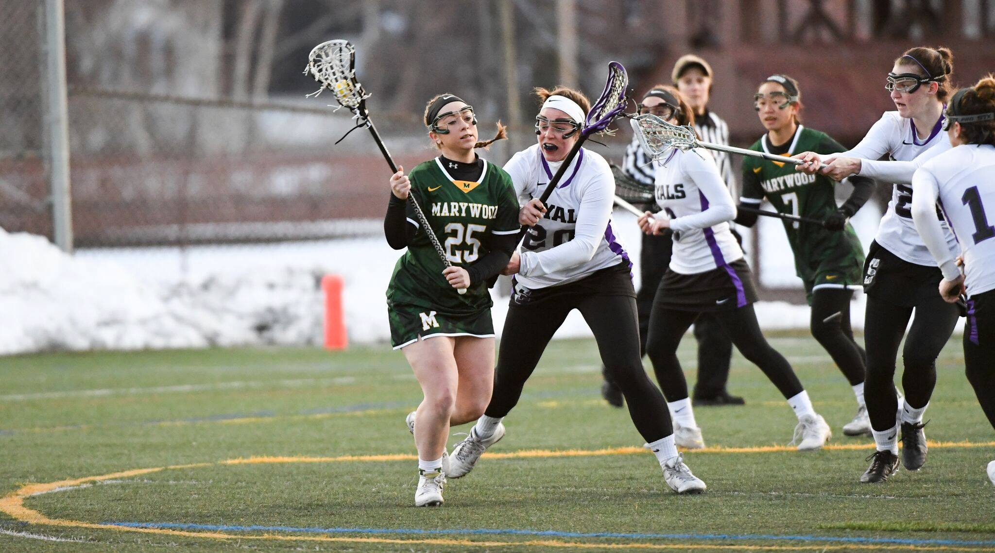 Sophomore attacker Ashley Valway became the ninth member of Marywood University's 100 Point Club with two goals. Photo courtesy of Marywood Athletics