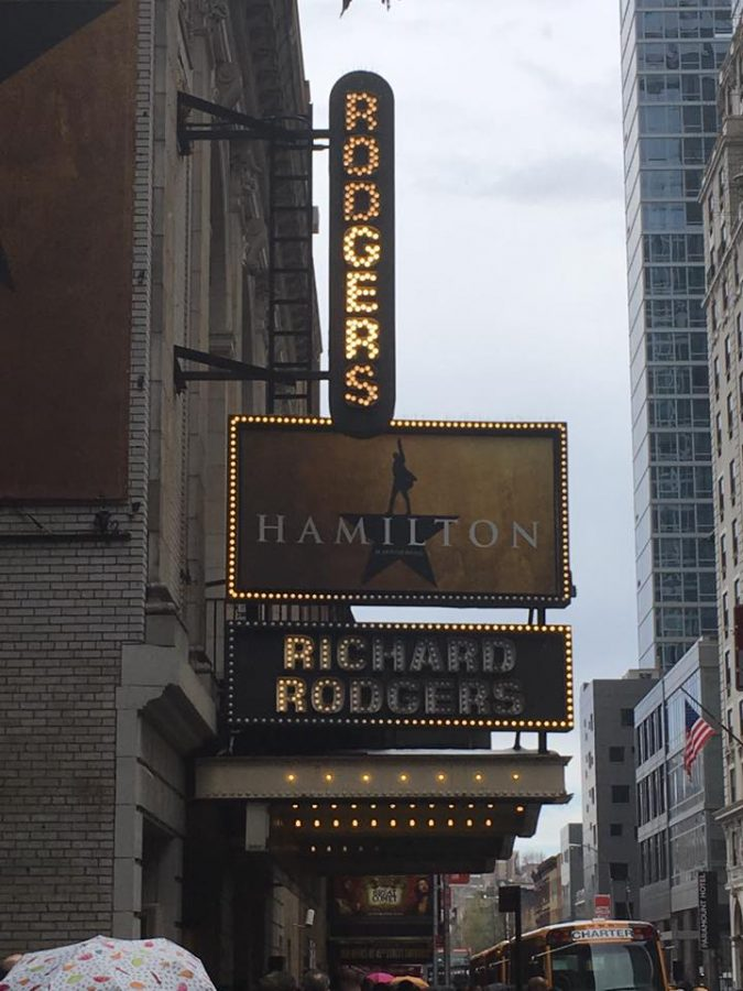 The+Hamilton+marquee+is+lit+up+for+the+afternoon+show+at+the+Richard+Rodgers+Theatre+in+New+York+City.