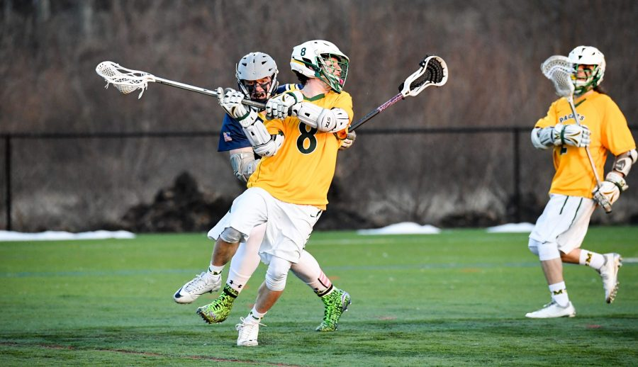 Junior+attacker+Matt+Casto+lights+up+the+scoreboard+with+a+five-goal+performance+against+Rosemont.+Photo+courtesy+of+Marywood+Athletics