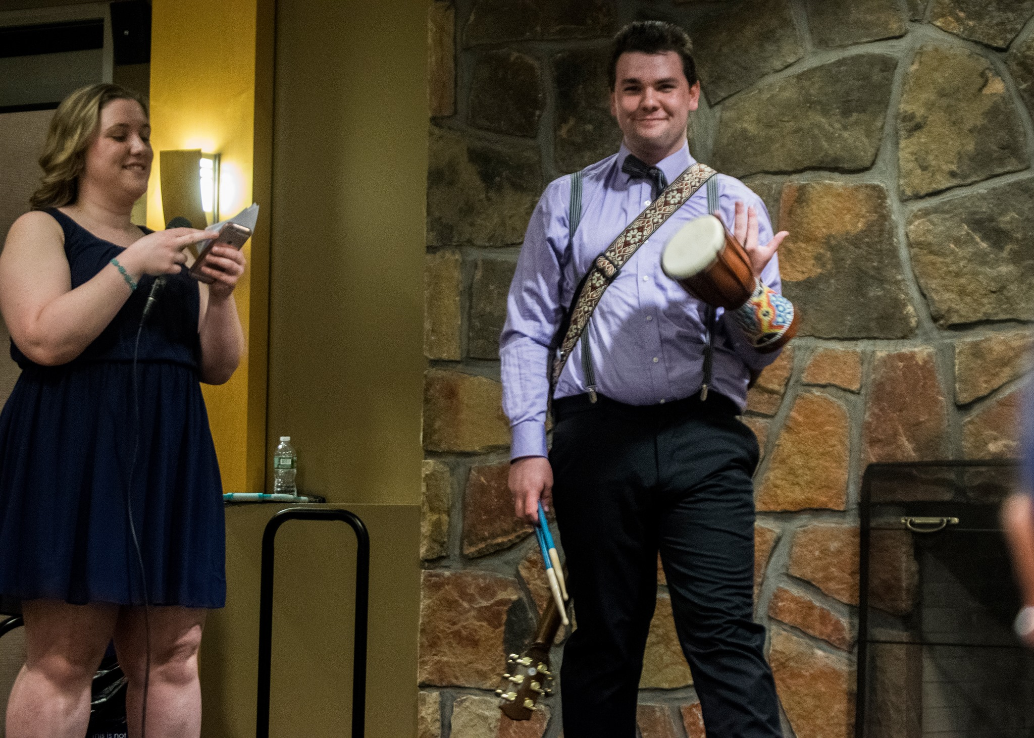 Spencer Cole, a freshman music therapy major, dresses as a musician for the occupational wear competition.