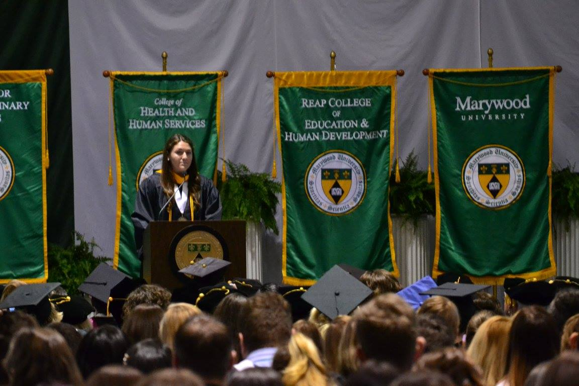 Class of 2017 Valedictorian Haven Donovan, athletic training major, addresses the other students.