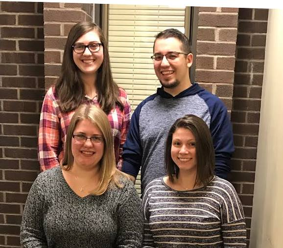 Photo courtesy: Marywood Department of Communication Sciences and Disorders  Marywood's NSSLHA chapter officers include (from back to front) Treasurer Nicole Coombs, Vice President Zachary Lowe, Secretary Kristen Meyer and President Rachel Panick.