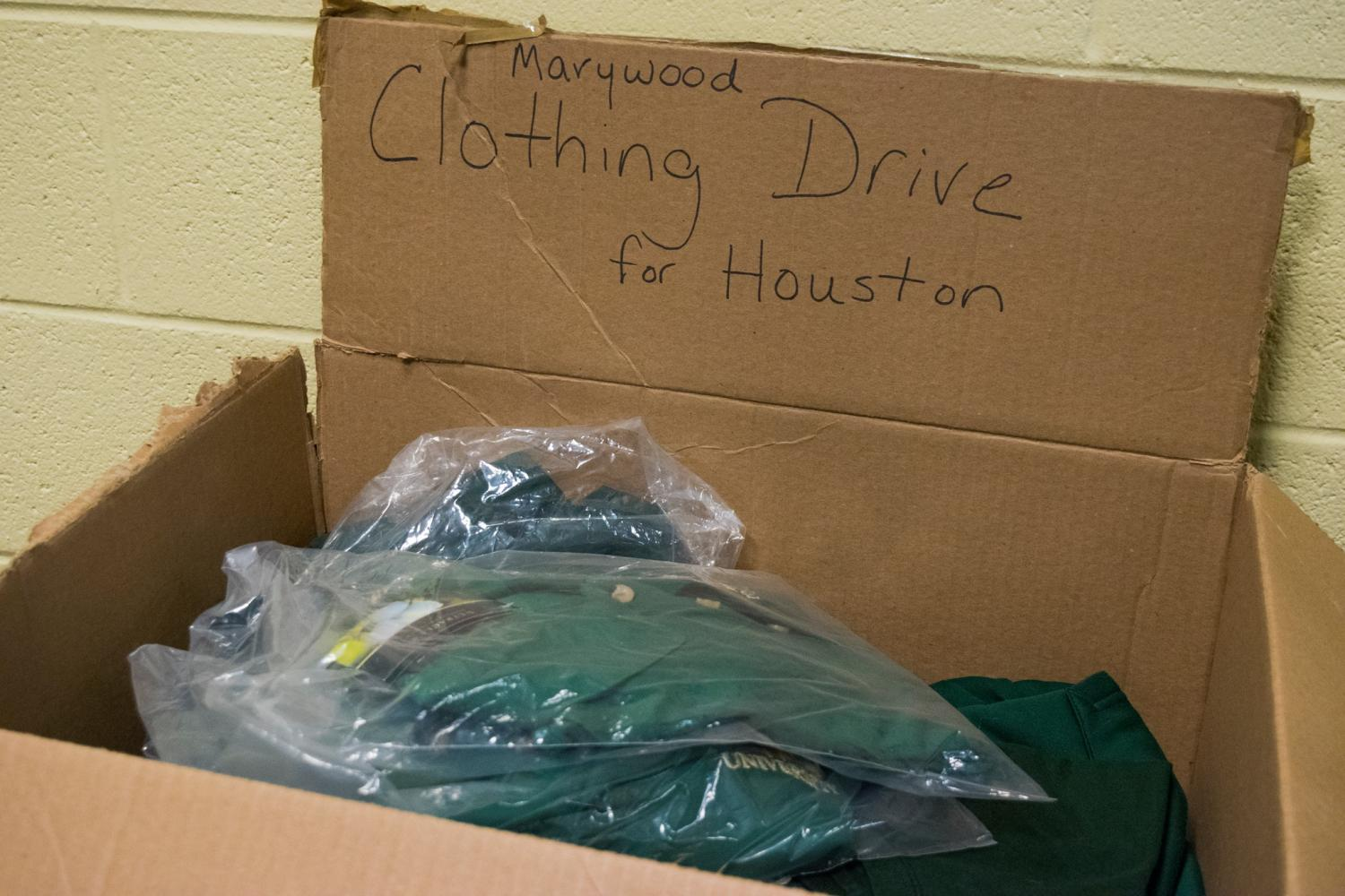 Students dropped off their Marywood gear at the Athletics Office.