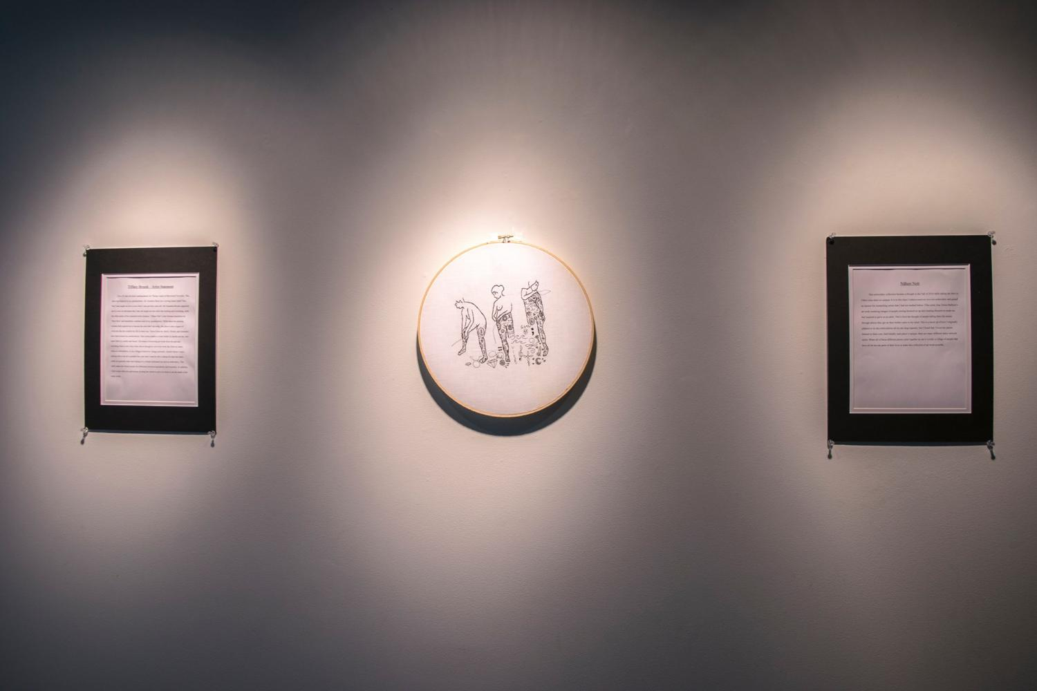 Brzenk's designs hang in the Shields Center for Visual Arts with a biography about Brzenk and her exhibitions.