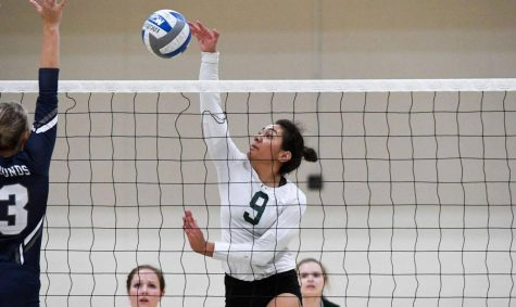 Sophomore middle blocker-outside hitter Gabriella Santos led the team with eight kills. Photo courtesy of Marywood Athletics.
