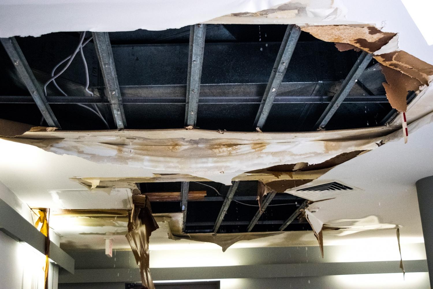 Water leaks through the roof in the Suraci Gallery in the Shield Center for Visual Arts.